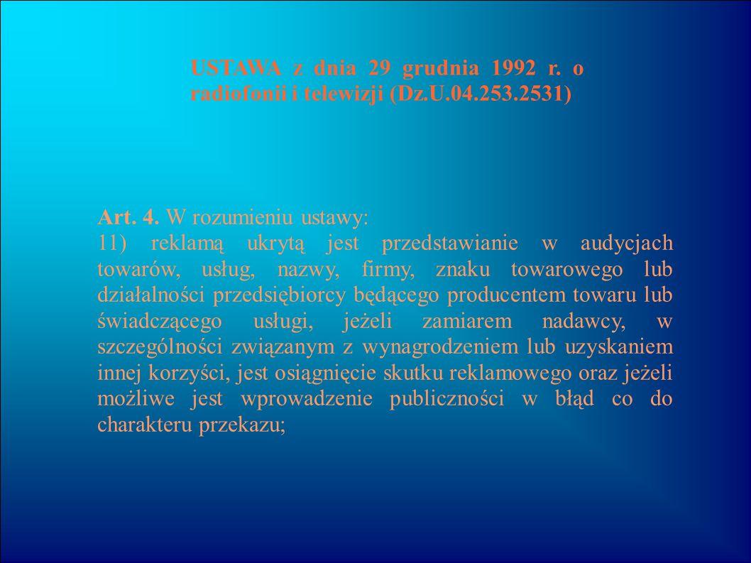 USTAWA z dnia 29 grudnia 1992 r. o radiofonii i telewizji (Dz. U. 04