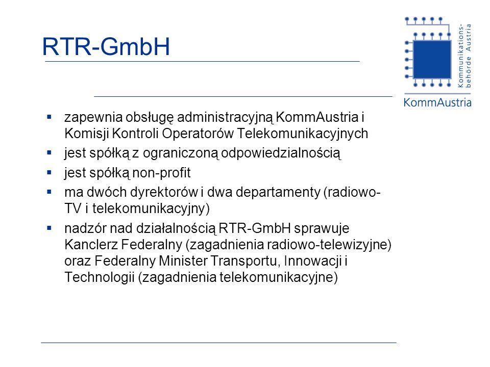 RTR-GmbH zapewnia obsługę administracyjną KommAustria i Komisji Kontroli Operatorów Telekomunikacyjnych.