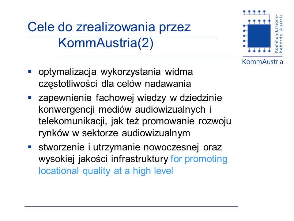 Cele do zrealizowania przez KommAustria(2)
