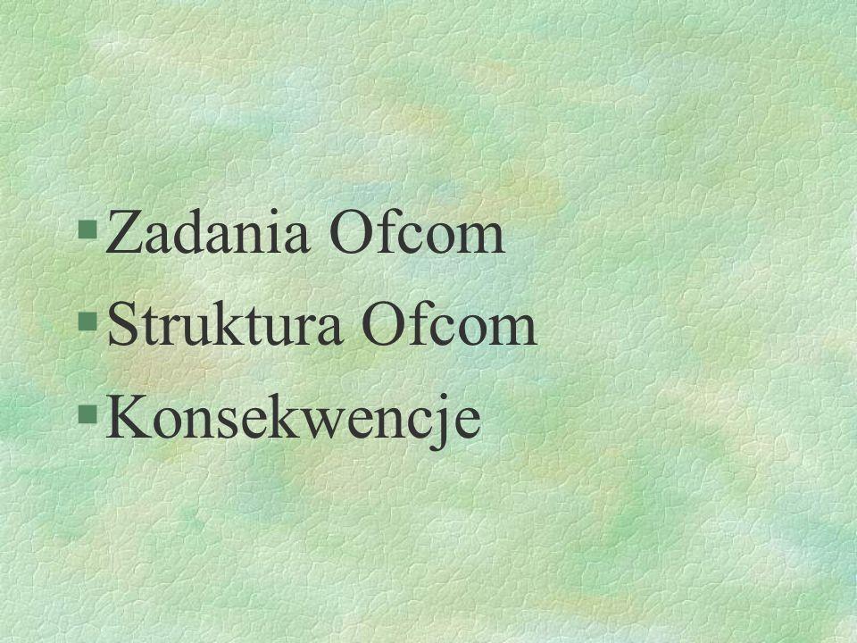 Zadania Ofcom Struktura Ofcom Konsekwencje