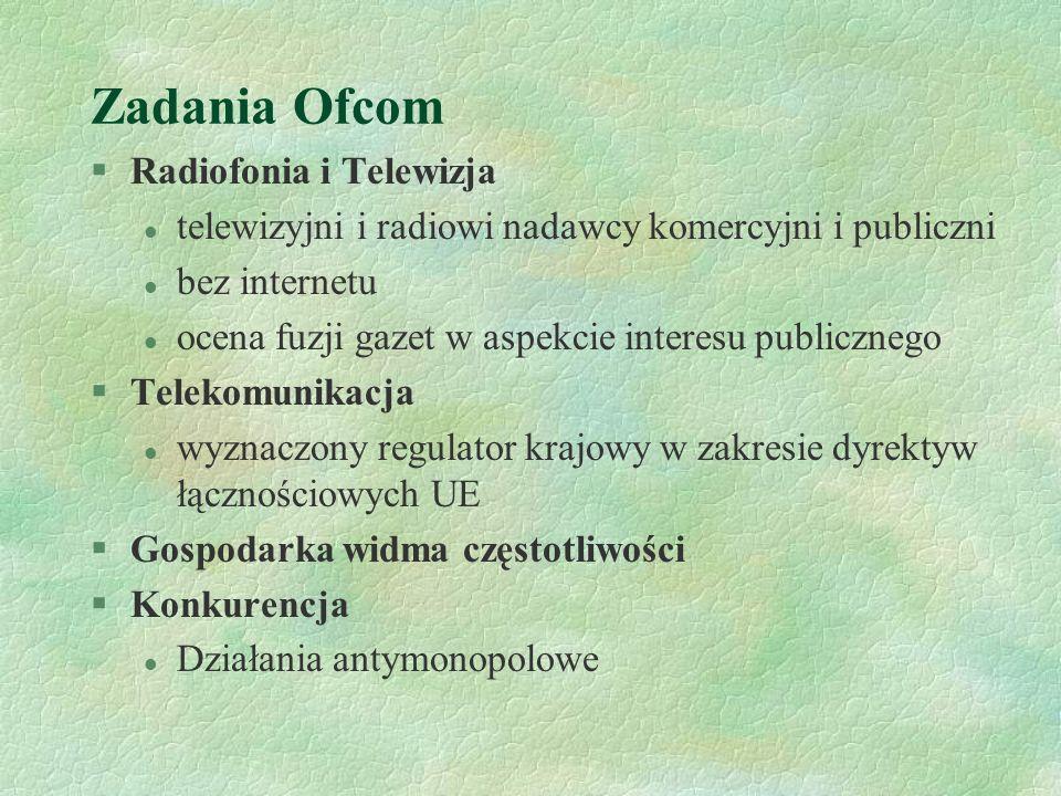 Zadania Ofcom Radiofonia i Telewizja