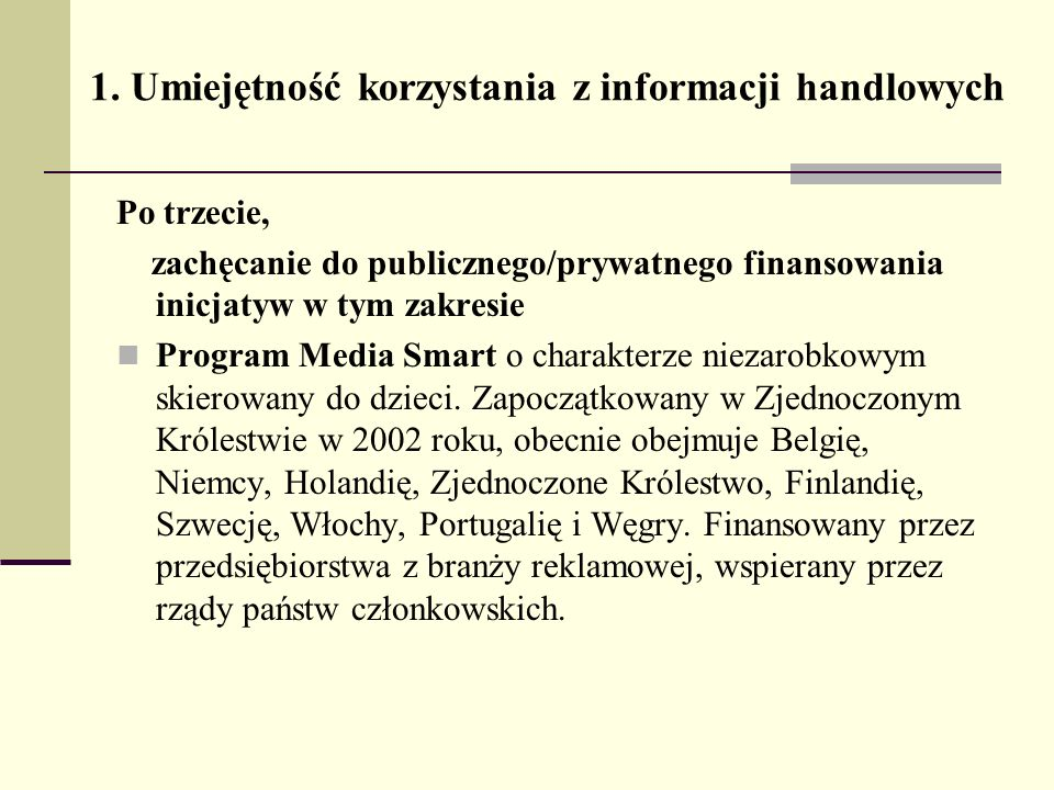 1. Umiejętność korzystania z informacji handlowych