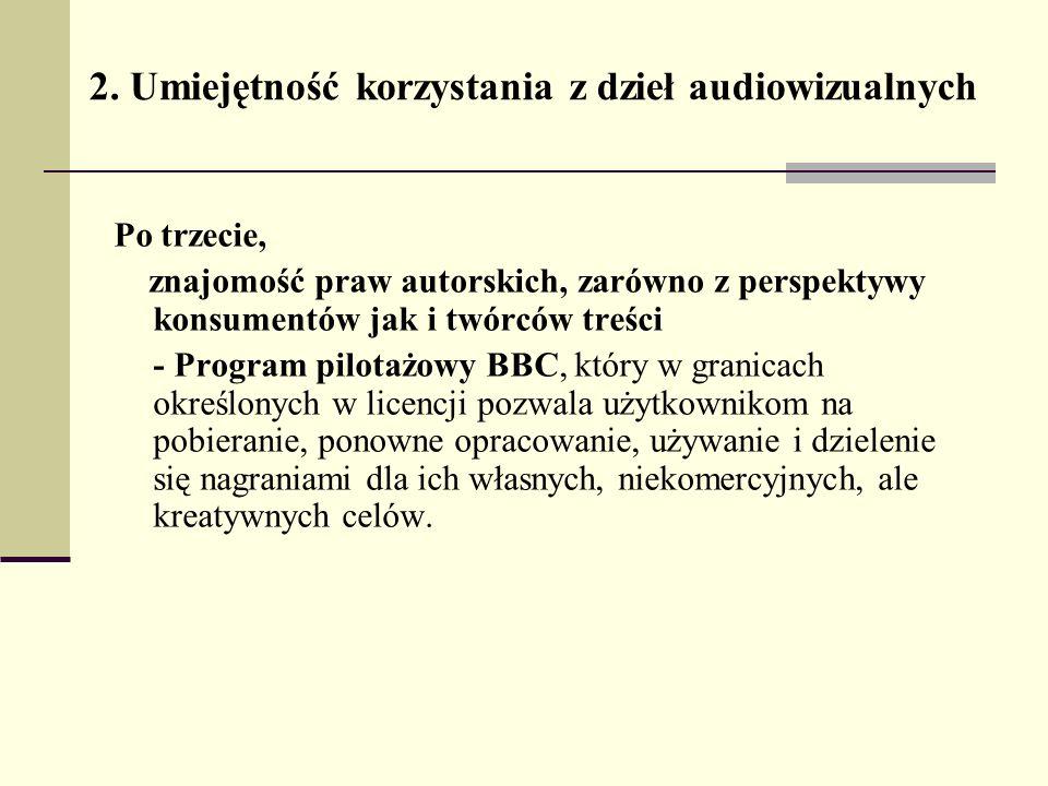 2. Umiejętność korzystania z dzieł audiowizualnych