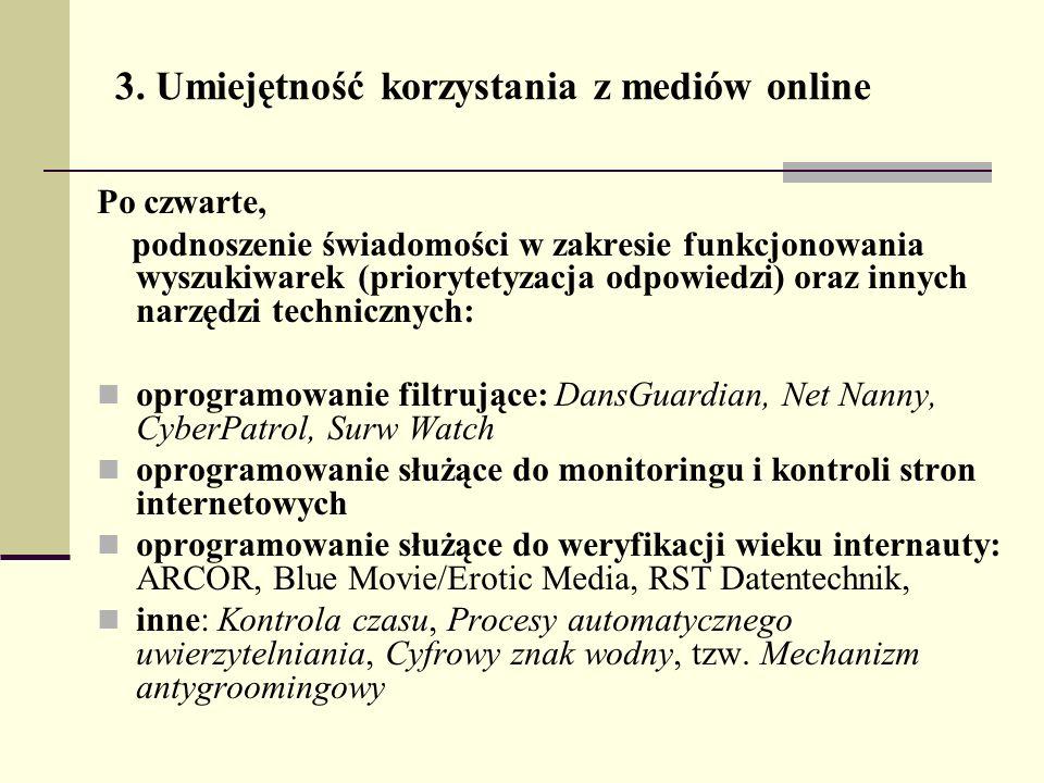 3. Umiejętność korzystania z mediów online