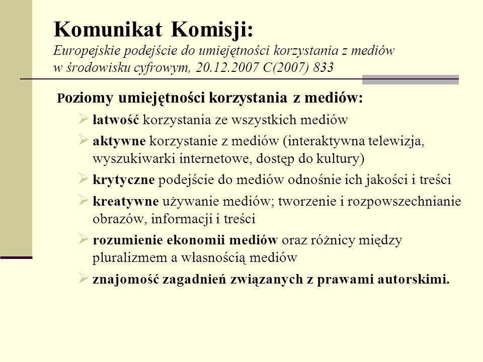 Komunikat Komisji: Europejskie podejście do umiejętności korzystania z mediów w środowisku cyfrowym, 20.12.2007 C(2007) 833