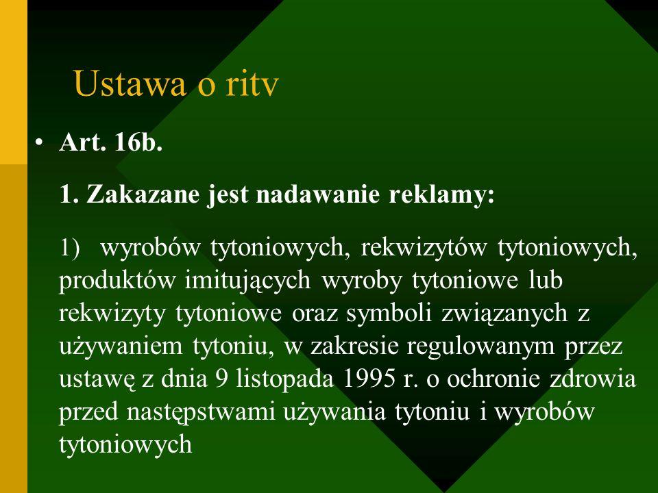 Ustawa o ritv Art. 16b. 1. Zakazane jest nadawanie reklamy: