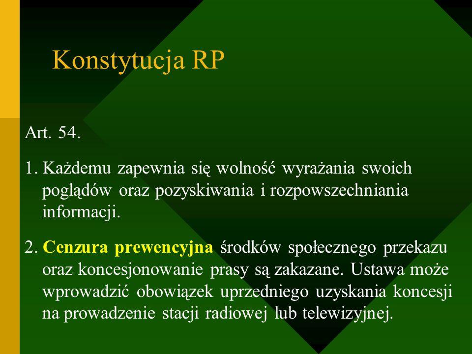 Konstytucja RP Art. 54. 1. Każdemu zapewnia się wolność wyrażania swoich poglądów oraz pozyskiwania i rozpowszechniania informacji.