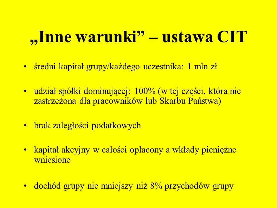 """""""Inne warunki – ustawa CIT"""