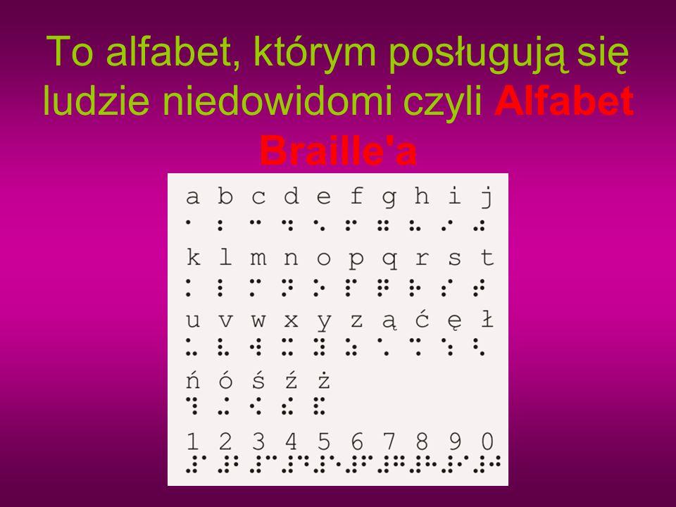 To alfabet, którym posługują się ludzie niedowidomi czyli Alfabet Braille a