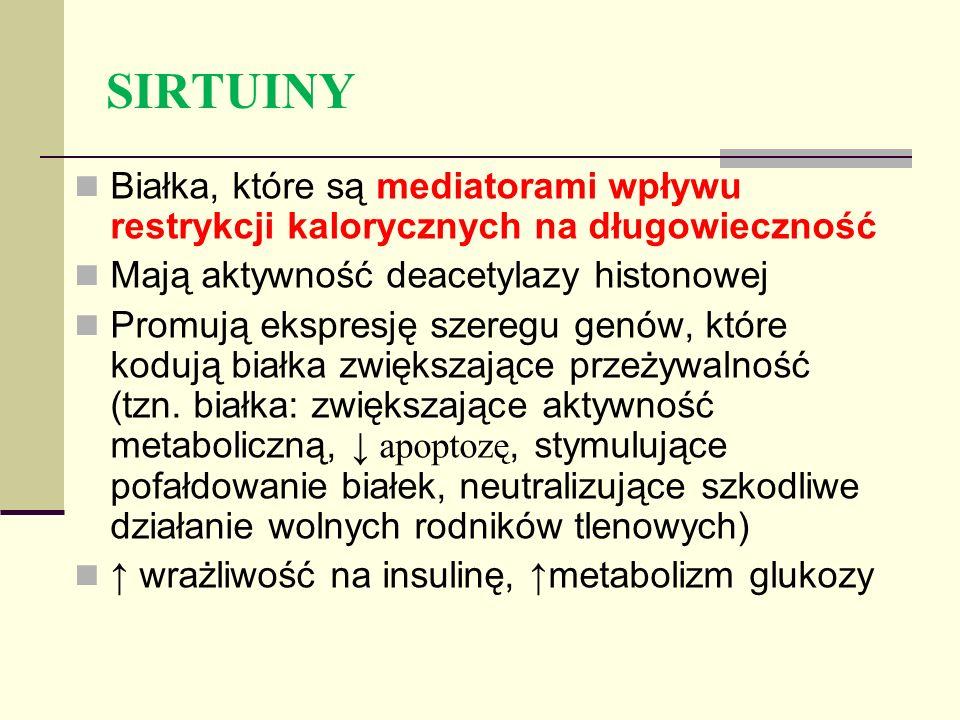 SIRTUINY Białka, które są mediatorami wpływu restrykcji kalorycznych na długowieczność. Mają aktywność deacetylazy histonowej.