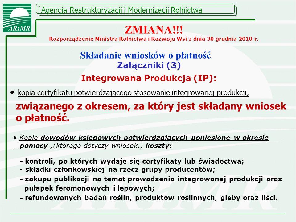 Składanie wniosków o płatność Integrowana Produkcja (IP):