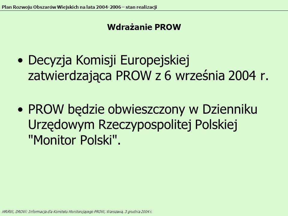 Decyzja Komisji Europejskiej zatwierdzająca PROW z 6 września 2004 r.