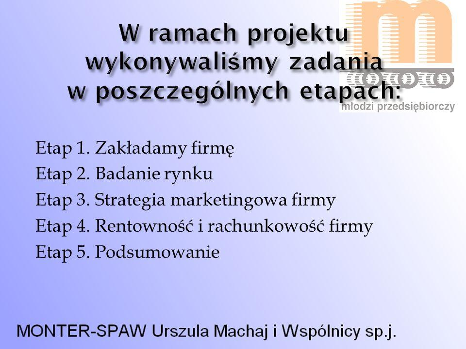 W ramach projektu wykonywaliśmy zadania w poszczególnych etapach: