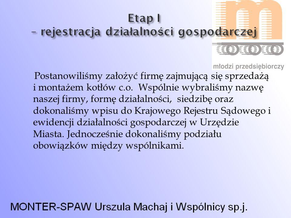Etap I – rejestracja działalności gospodarczej