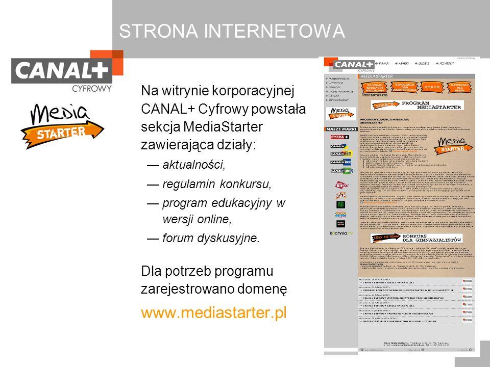 STRONA INTERNETOWA Na witrynie korporacyjnej CANAL+ Cyfrowy powstała sekcja MediaStarter zawierająca działy: