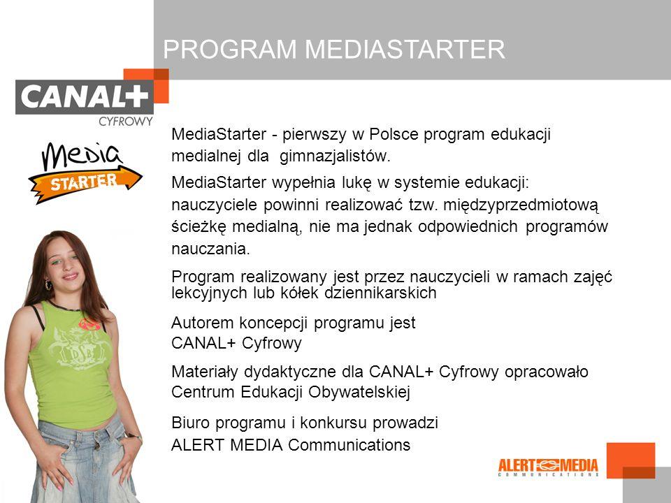PROGRAM MEDIASTARTER Biuro programu i konkursu prowadzi
