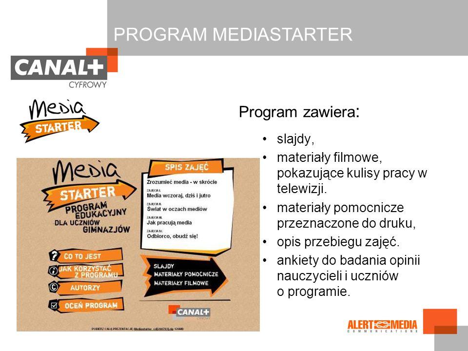 PROGRAM MEDIASTARTER Program zawiera: slajdy,