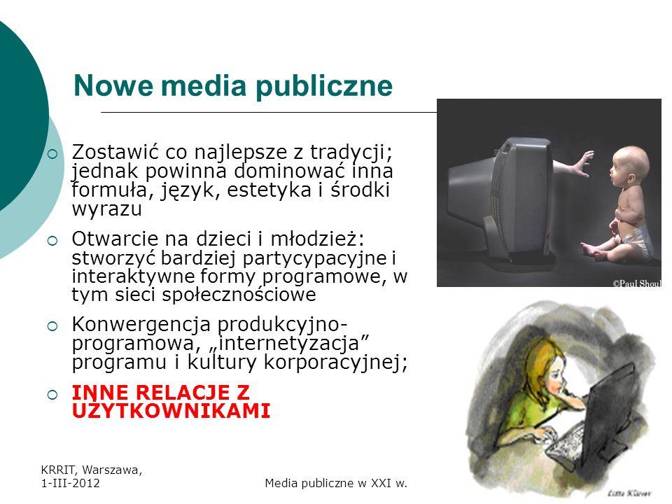 Nowe media publiczne Zostawić co najlepsze z tradycji; jednak powinna dominować inna formuła, język, estetyka i środki wyrazu.
