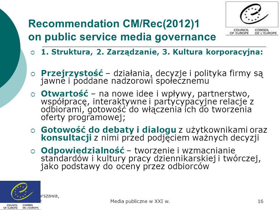 Recommendation CM/Rec(2012)1 on public service media governance