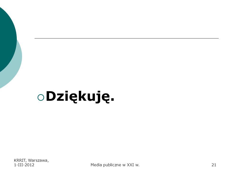 Dziękuję. KRRIT, Warszawa, 1-III-2012 Media publiczne w XXI w.