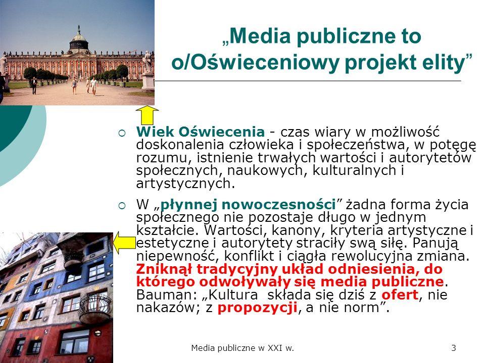 """""""Media publiczne to o/Oświeceniowy projekt elity"""