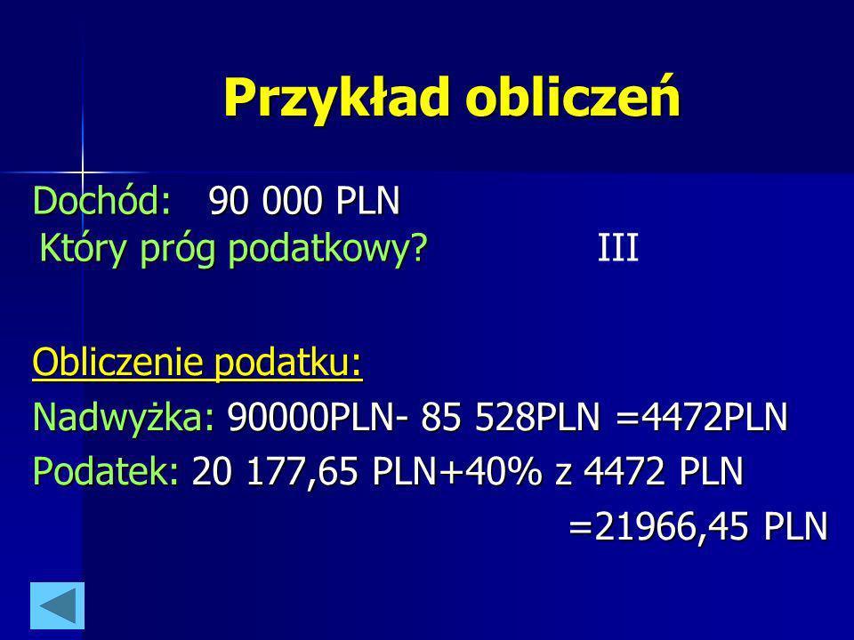 Przykład obliczeń Dochód: 90 000 PLN Który próg podatkowy III