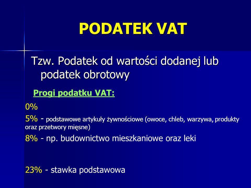 PODATEK VAT Tzw. Podatek od wartości dodanej lub podatek obrotowy