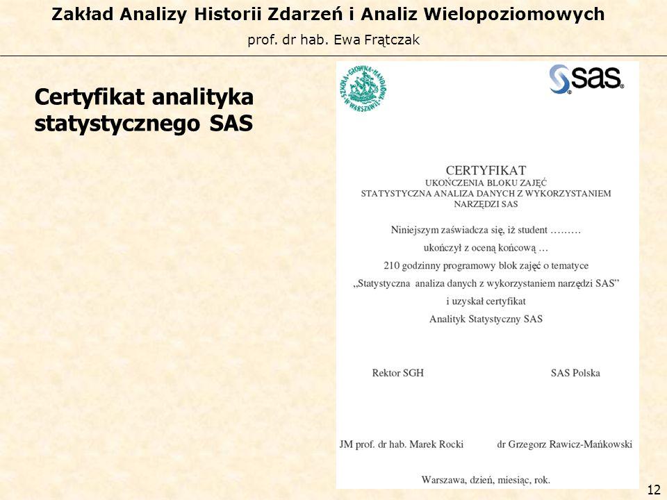 Certyfikat analityka statystycznego SAS