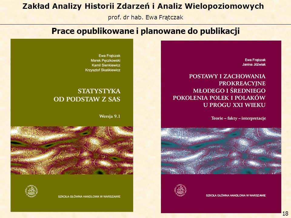 Prace opublikowane i planowane do publikacji