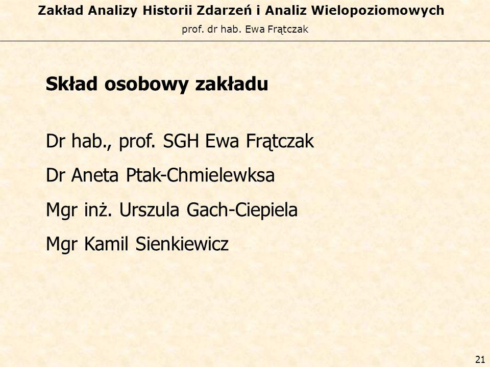 Skład osobowy zakładu Dr hab., prof. SGH Ewa Frątczak. Dr Aneta Ptak-Chmielewksa. Mgr inż. Urszula Gach-Ciepiela.