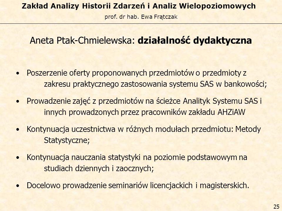 Aneta Ptak-Chmielewska: działalność dydaktyczna