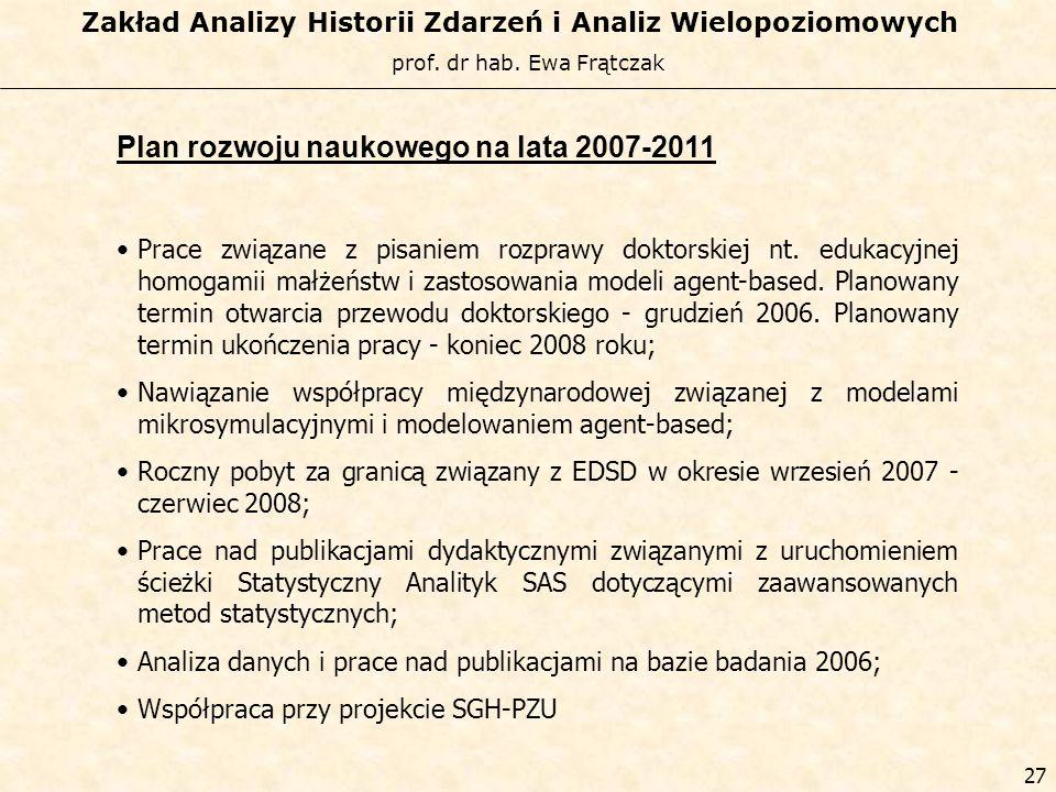 Plan rozwoju naukowego na lata 2007-2011