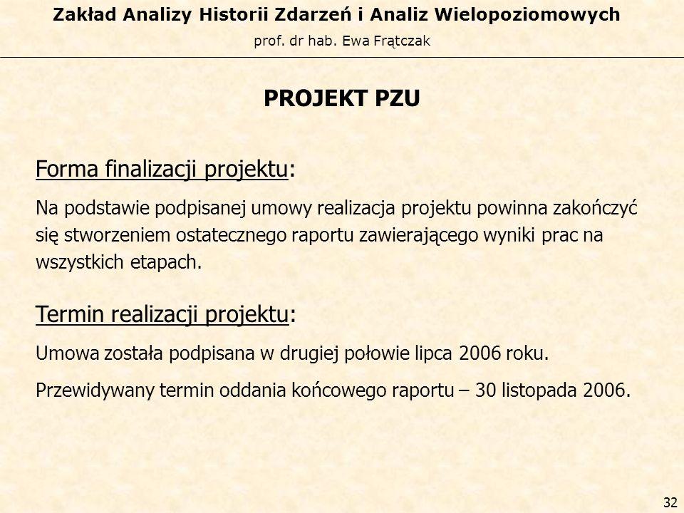 Forma finalizacji projektu:
