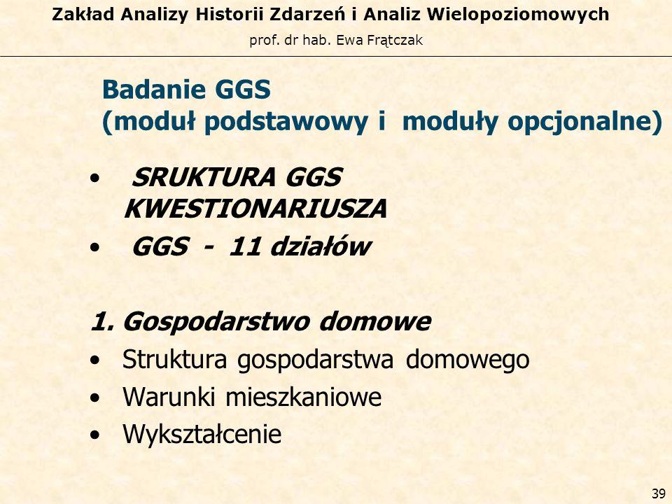 Badanie GGS (moduł podstawowy i moduły opcjonalne) SRUKTURA GGS KWESTIONARIUSZA. GGS - 11 działów.