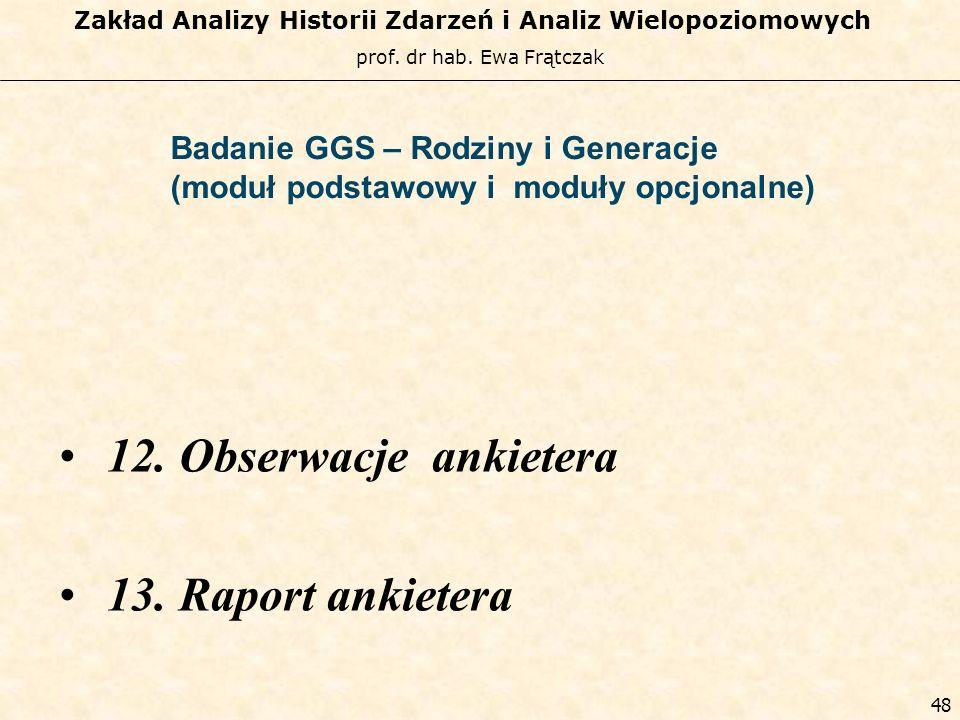 12. Obserwacje ankietera 13. Raport ankietera