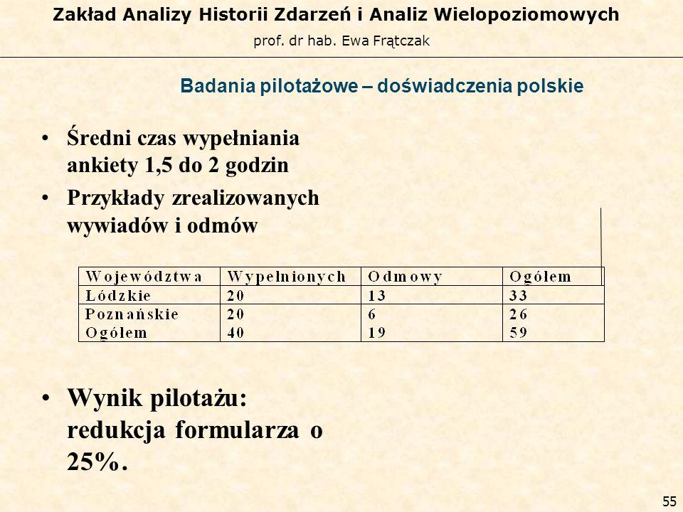 Badania pilotażowe – doświadczenia polskie