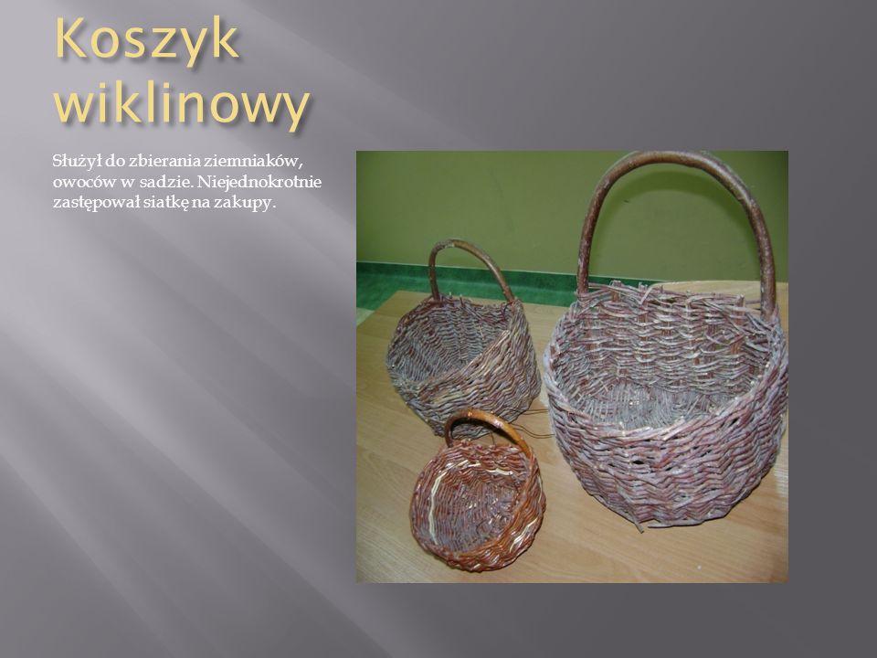 Koszyk wiklinowy Służył do zbierania ziemniaków, owoców w sadzie.