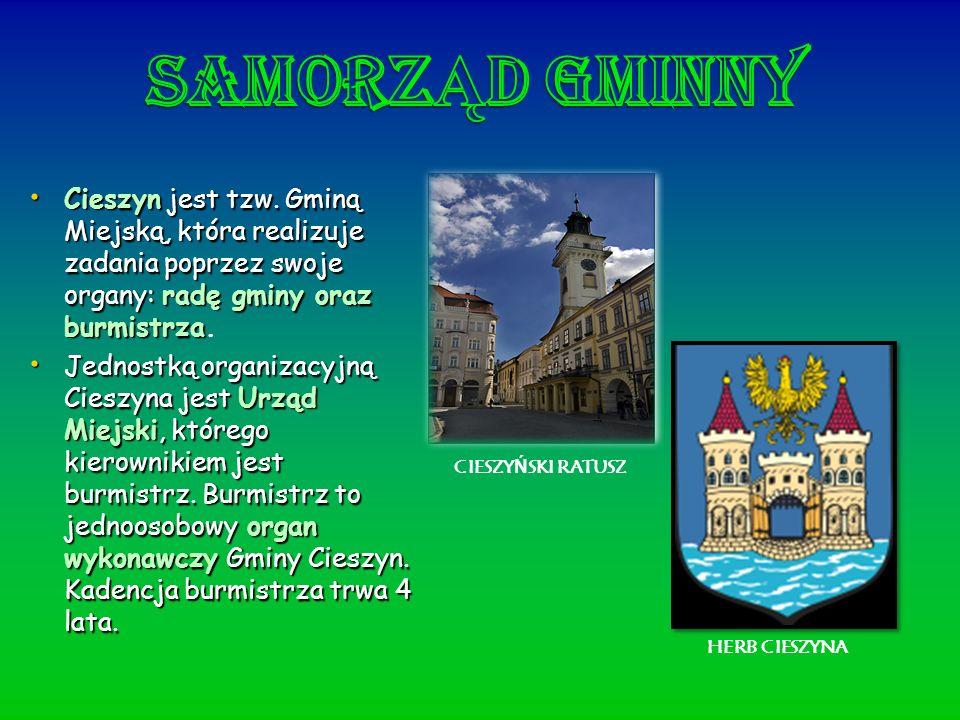 SamorzĄd GminnyCieszyn jest tzw. Gminą Miejską, która realizuje zadania poprzez swoje organy: radę gminy oraz burmistrza.