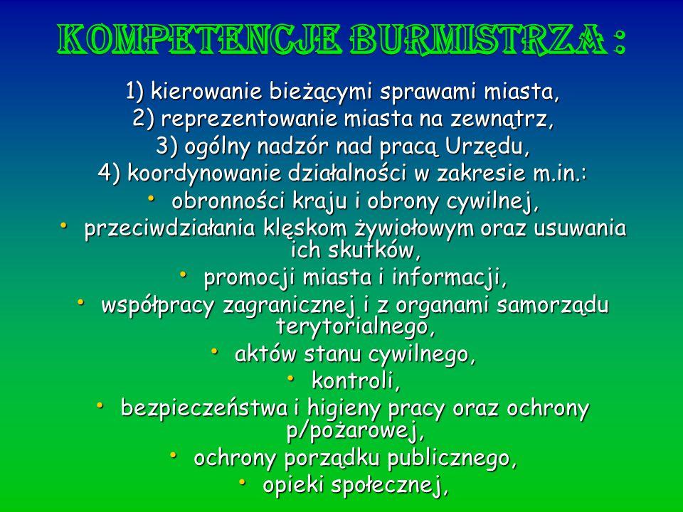 Kompetencje burmistrza :