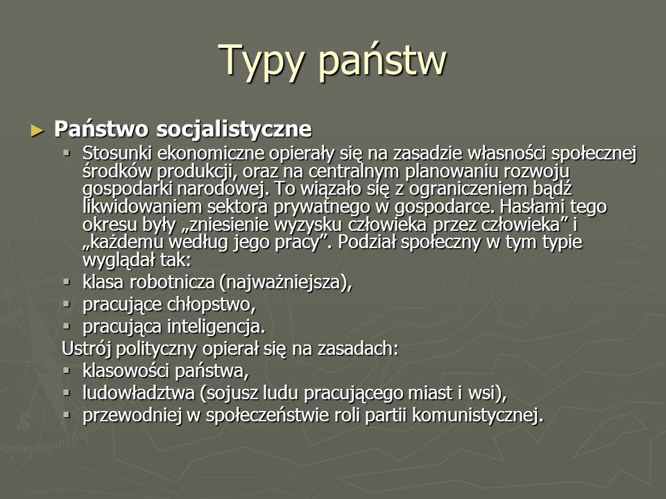 Typy państw Państwo socjalistyczne
