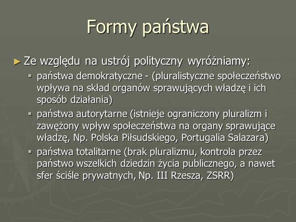 Formy państwa Ze względu na ustrój polityczny wyróżniamy: