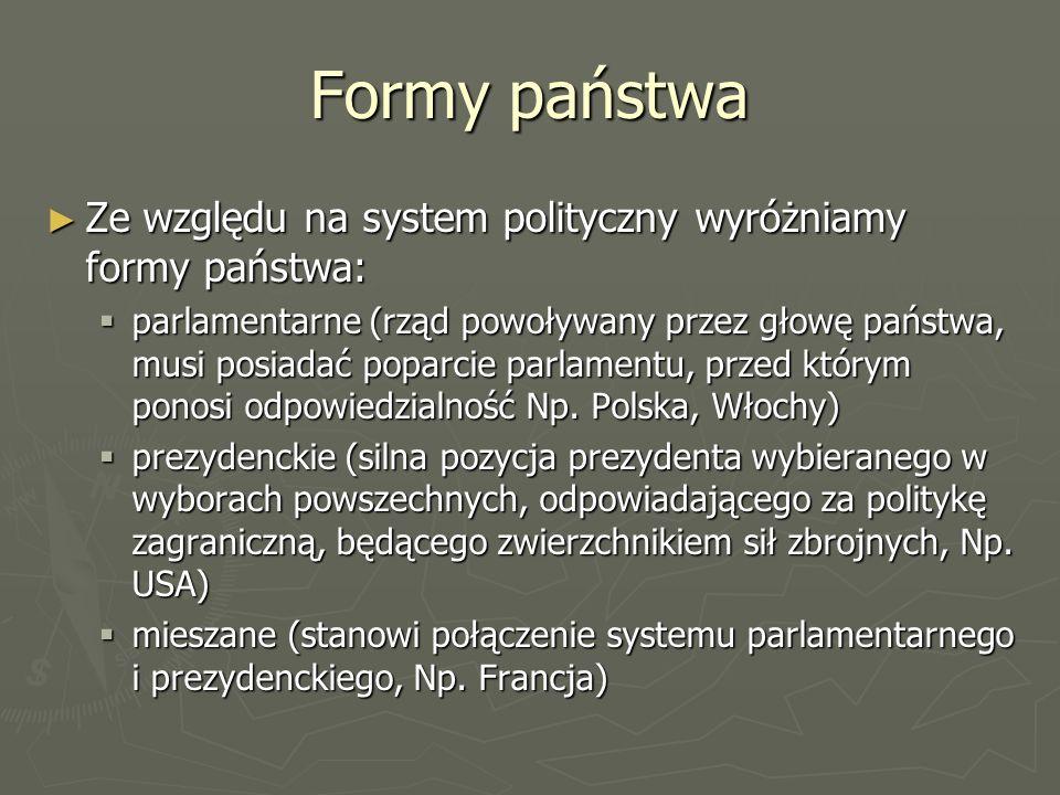 Formy państwaZe względu na system polityczny wyróżniamy formy państwa: