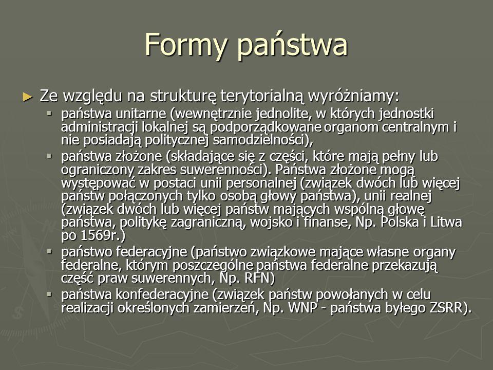 Formy państwa Ze względu na strukturę terytorialną wyróżniamy: