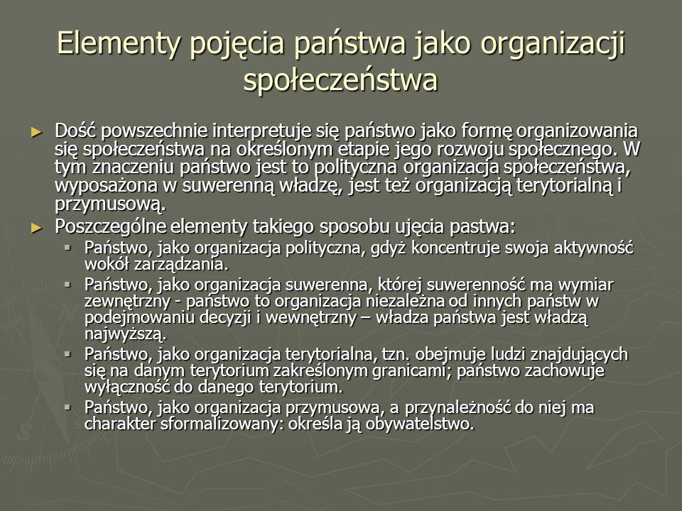 Elementy pojęcia państwa jako organizacji społeczeństwa