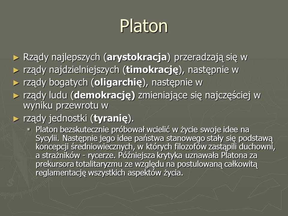 Platon Rządy najlepszych (arystokracja) przeradzają się w
