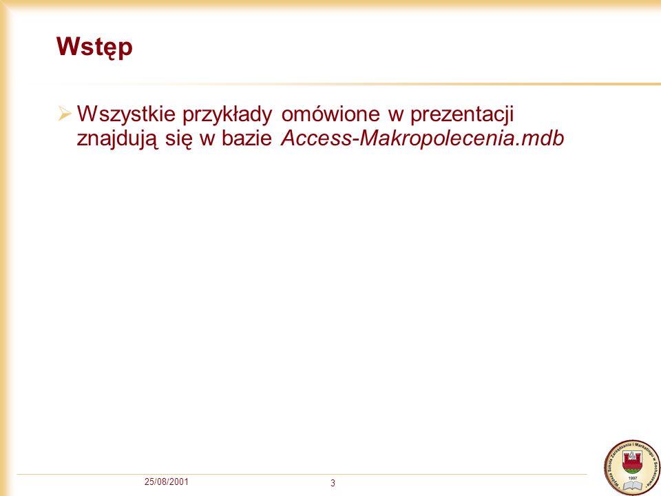 Wstęp Wszystkie przykłady omówione w prezentacji znajdują się w bazie Access-Makropolecenia.mdb.