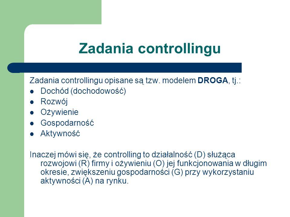 Zadania controllingu Zadania controllingu opisane są tzw. modelem DROGA, tj.: Dochód (dochodowość)