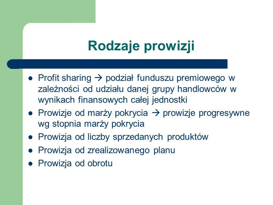 Rodzaje prowizji Profit sharing  podział funduszu premiowego w zależności od udziału danej grupy handlowców w wynikach finansowych całej jednostki.