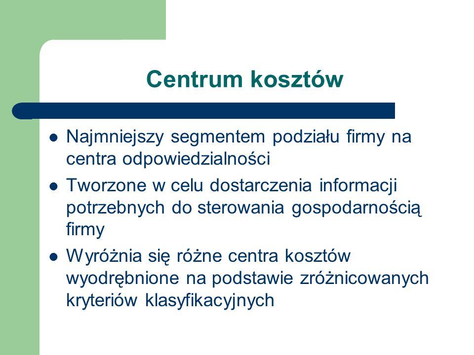 Centrum kosztów Najmniejszy segmentem podziału firmy na centra odpowiedzialności.