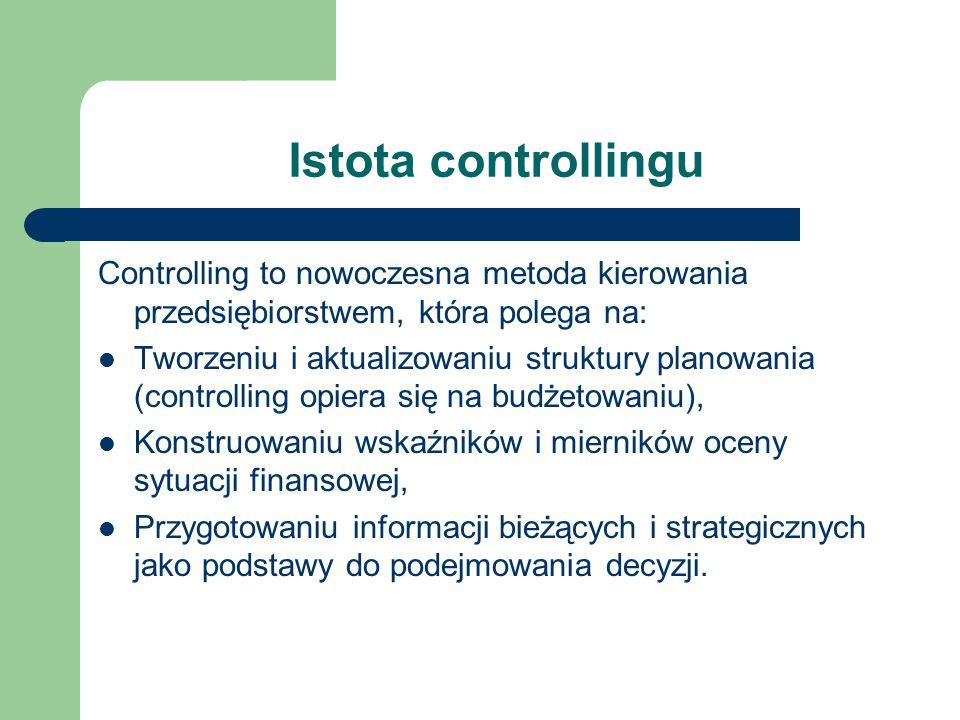 Istota controllingu Controlling to nowoczesna metoda kierowania przedsiębiorstwem, która polega na: